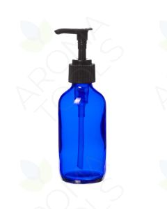 4 oz. Blue Glass Bottle with Black Pump