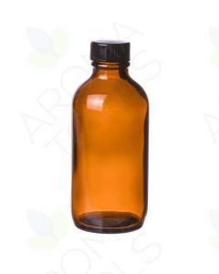 8 oz. Amber Glass Bottle with Black Cap
