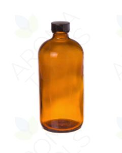16 oz. Amber Glass Bottle with Black Cap