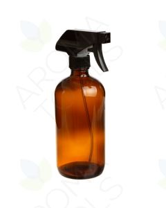 16 oz. Amber Glass Bottle with Black Trigger Sprayer