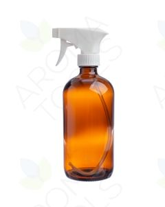 16 oz. Amber Glass Bottle with White Trigger Sprayer