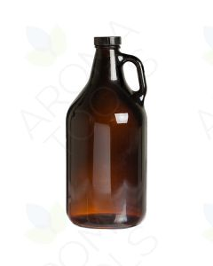 64 oz. Amber Glass Bottle with Black Lid