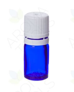 5 ml Blue Glass Vials and White Euro-style Caps with Orifice Reducers (Pack of 6)