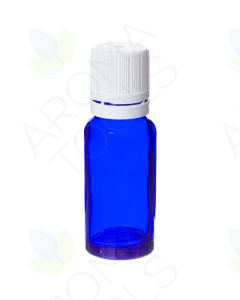15 ml Blue Glass Vials and White Euro-style Caps with Orifice Reducers (Pack of 6)