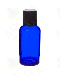 30 ml Blue Glass Vials and Black Euro-style Caps with Orifice Reducers (Pack of 6)