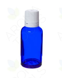 30 ml Blue Glass Vials and White Euro-style Caps with Orifice Reducers (Pack of 6)
