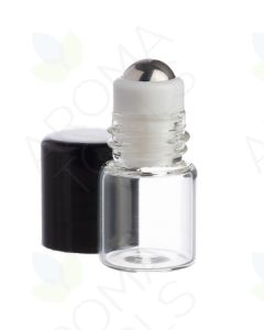 1 ml Clear Glass Vials with Metal Roll-ons and Black Caps (Pack of 12)