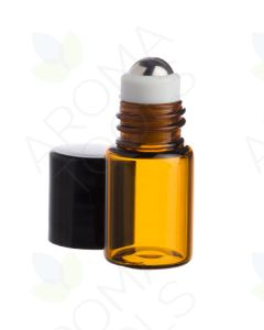 2 ml Amber Glass Vials with Metal Roll-ons and Black Caps (Pack of 144)
