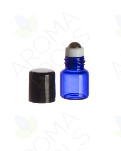 1 ml Blue Glass Vials with Metal Roll-ons and Black Caps (Pack of 6)