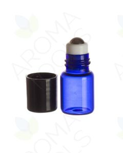2 ml Blue Glass Vials with Metal Roll-ons and Black Caps (Pack of 6)