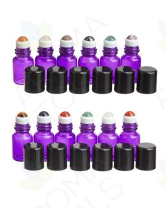 2 ml Purple Glass Vials with Gemstone Rollers and Black Caps (Pack of 12)