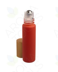 1/3 oz. Matte Coral Glass Bottles with Metal Roll-ons and Gold Caps (Pack of 6)