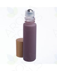 1/3 oz. Matte Lavender Glass Bottles with Metal Roll-ons and Gold Caps (Pack of 6)