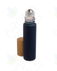 1/3 oz. Matte Navy Glass Bottles with Metal Roll-ons and Gold Caps (Pack of 6)