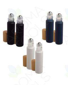 1/3 oz. Neutral Matte Collection Glass Bottles with Metal Roll-ons and Gold Caps (Pack of 6)