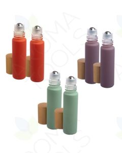 1/3 oz. Pastels Matte Collection Glass Bottles with Metal Roll-ons and Gold Caps (Pack of 6)