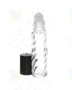 1/3 oz. Clear Swirled Glass Roll-on Vials with Black Caps (Pack of 6)