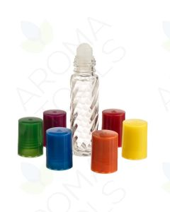 1/3 oz. Clear Swirled Glass Roll-on Vials with Assorted Bright Caps (Pack of 6)