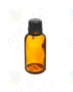 30 ml Amber Glass Vials and Black Euro-style Caps with Orifice Reducers (Pack of 6)