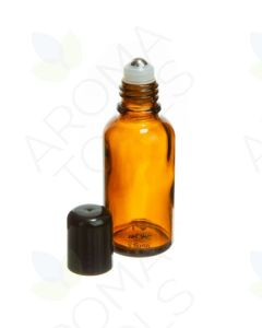 30 ml Amber Glass Vials with SpringLock Stainless Steel Roll-ons and Black Caps (Pack of 6)