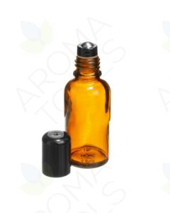 30 ml Amber Glass Vials with Stainless Steel Roll-ons and Black Caps (Pack of 6)