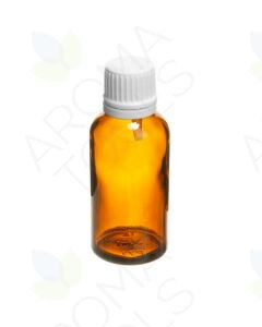 30 ml Amber Glass Vials and White Euro-style Caps with Orifice Reducers (Pack of 6)