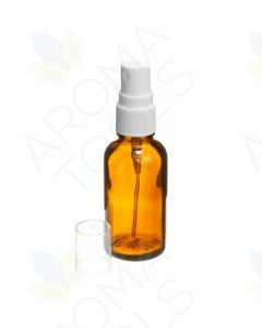 30 ml Amber Glass Vials with White Misting Sprayers (Pack of 6)