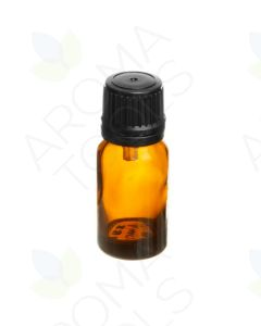 10 ml Amber Glass Vials and Black Euro-Style Caps with Orifice Reducers (Pack of 6)