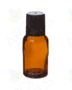 15 ml Amber Glass Vials and Black Euro-Style Caps with Orifice Reducers (Pack of 6)