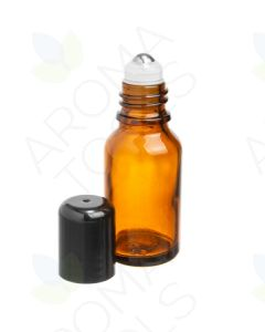 15 ml Amber Glass Vials with SpringLock Stainless Steel Roll-ons and Black Caps (Pack of 6)