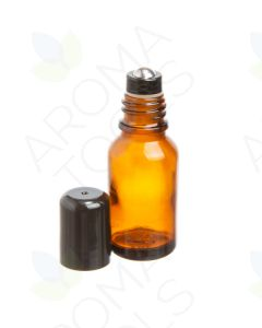 15 ml Amber Glass Vials with Stainless Steel Roll-ons and Black Caps (Pack of 6)