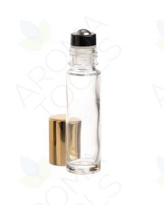 1/3 oz. Clear Glass Bottles with Metal Roll-ons and Shiny Gold Caps (Pack of 6)