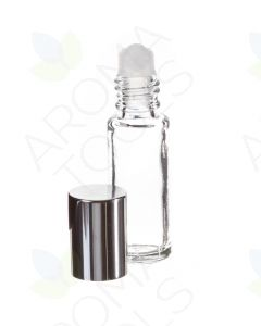 1/6 oz. Clear Glass Roll-on Vials with Silver Caps (Pack of 6)