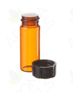 2 dram Amber Glass Vials, Orifice Reducers, and Black Caps (Pack of 6)