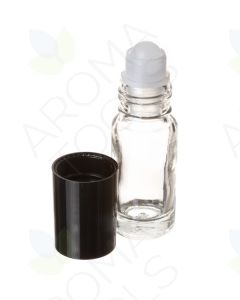 1/6 oz. Clear Glass Roll-On Vials with Black Caps (Pack of 6)