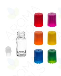 1/6 oz. Clear Glass Roll-on Vials with Assorted Bright Caps (Pack of 6)