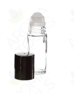 1 oz. Clear Glass Roll-on Vials with Black Caps (Pack of 2)