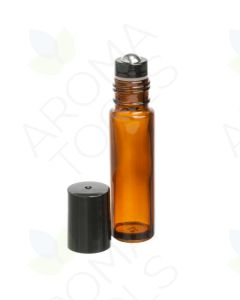 1/3 oz. Amber Glass Bottles with Metal Roll-ons and Black Caps (Pack of 6)