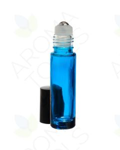 1/3 oz. Blue Glass Roll-on Vials with SpringLock Stainless Steel Roll-ons and Black Caps (Pack of 6)