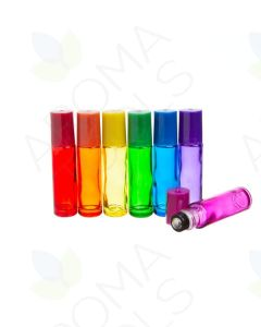 1/3 oz. Chakra-Colored Glass Vials with Stainless Steel Rollers and Matching Lids (Set of 7)