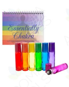 """Essentially Chakra"" Set with Chakra-colored Glass Roll-on Vials"