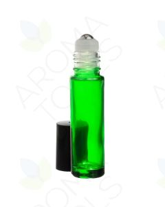 1/3 oz. Green Glass Roll-on Vials with SpringLock Stainless Steel Roll-ons and Black Caps (Pack of 6)