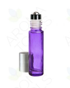 1/3 oz. Purple Glass Bottles with Metal Roll-ons and Silver Caps (Pack of 6)