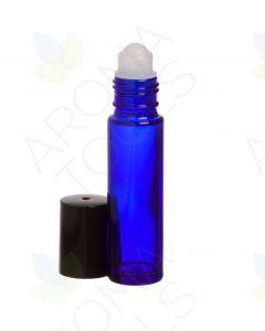 1/3 oz. Blue Glass Roll-on Vials with Black Caps (Pack of 6)