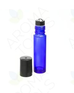 1/3 oz. Blue Glass Bottles with Metal Roll-ons and Black Caps (Pack of 6)