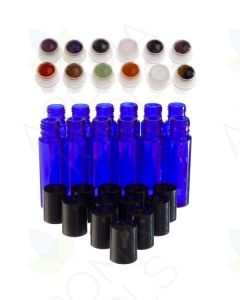 1/3 oz. Blue Glass Vials with Gemstone Rollers and Black Caps (Pack of 12)