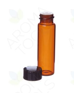 4 dram Amber Glass Vials, Orifice Reducers, and Black Caps (Pack of 6)