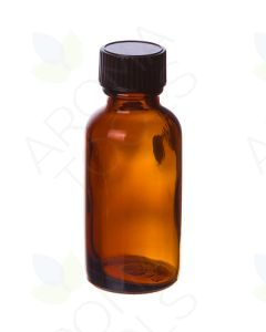 1 oz. Amber Glass Bottles with Black Caps (Pack of 6)