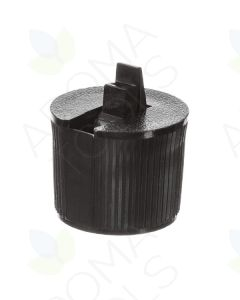 Black Flip-top Ribbed Plastic Cap for Some 2, 4, and 8 oz. Plastic Bottles (24-410 Neck Size)