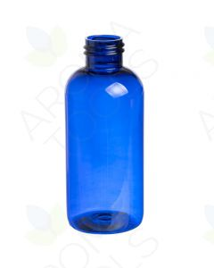 4 oz. Blue Plastic Boston Round Bottle (24-410 Neck Size)